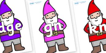 Silent Letters on Gnomes - Silent Letters, silent letter, letter blend, consonant, consonants, digraph, trigraph, A-Z letters, literacy, alphabet, letters, alternative sounds