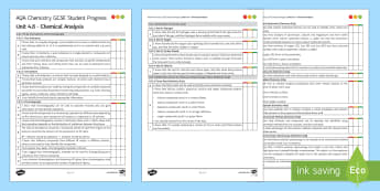 AQA Chemistry Unit 4.8 Chemical Analysis Student Progress Sheet - Student Progress Sheets, AQA, RAG sheet, Unit 4.8 Chemical Analysis