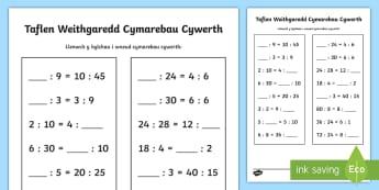 Taflen Weithgaredd Cymarebau Cywerth - mathemateg, rhifedd, rhifau, cymharaeb, ratio,Welsh