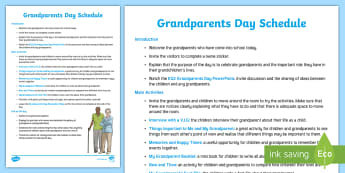 KS2 Grandparents Day Plan - grandparent's day, october, schedule, format, resource list, organise, timetable