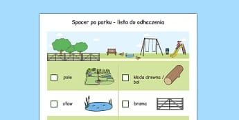 Arkusz Spacer po parku lista po polsku - wycieczka