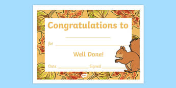 Autumn Woodland Squirrel Certificate - award, rewards, animals, early years, KS1, ks2, key stage 1, key stage 2, praise
