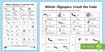 UKS2 Winter Olympics Crack the Code Worksheet / Activity Sheet - pyeongchang, maths challenge, decimals, adding decimals, subtracting decimals, algebra