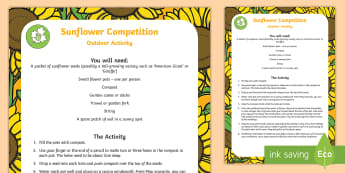 Sunflower Competition Activity Sheet - holidays, garden, growing, children, family, parents, measuring, outdoor