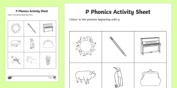 p Phonics Colouring Worksheet / Activity Sheet - Republic of Ireland, Phonics Resources, sounding out, initial sounds, worksheet / activity sheet, colouring, pho