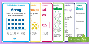 Multiplication Strategy Display Posters - New Zealand, maths, multiplication, times tables, strategies, Year 3, Year 4, age 6, age 7, age 8, a