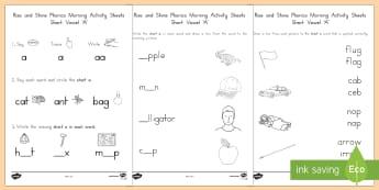 Rise and Shine Phonics Short 'a' Morning Activity Sheets - short vowels, short a, morning work, phonics, worksheets