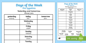 Days of the Week Yesterday and Tomorrow Activity Sheet English/Polish - Days of the Week Yesterday and Tomorrow Worksheet - days of the week, yesterday, tomorrow, worksheet