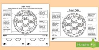 The Seder Plate Worksheet - passover, hebrew, jewish, passover, sedar plate, foods, celebration, religious,