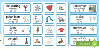 Winter Topic Word Cards English/Mandarin Chinese/Pinyin - Winter Topic Word Cards - Winter, winter words, Word card, flashcard, snowflake, snow, winter, frost