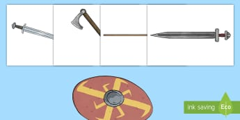 Viking Weapons Cut-Outs - large, display, cut outs, pack, vikings, battles, topic