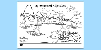 Synonyms of Adjectives - synonyms, adjectives, activity, colour, match