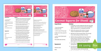 Coconut Ice Squares Diwali Recipe Cards Recipe English/Hindi  - Flavours, sweets, recipe, friends, festival, happiness. easy cooking, Diwali