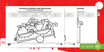 Christmas Addition and Subtraction to 10 Colour by Number English/Spanish - EAL, Christmas, within 10, Nativity, Jesus, xmas, Xmas, Father Christmas, Santa, colouring, Spanish-