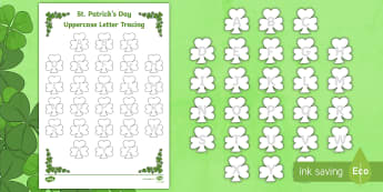 St. Patrick's Day Uppercase Alphabet Tracing Activity Sheet - St. Patrick's Day, Shamrocks, Tracing, Alphabet, Uppercase, March, st patrick's day, saint patrick