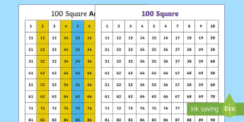 Number Square Patterns Activity Sheets - year 2, maths, place value, homework, hundred square, times tables, 2x tables, 5x tables, 10x tables
