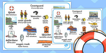 Coastguard Word Mat Polish Translation - polish, coastguard, word mat