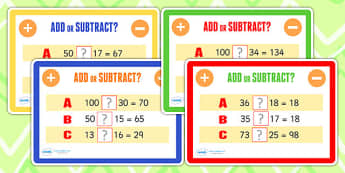 Addition and Subtraction Maths Challenge Cards - add, subtract