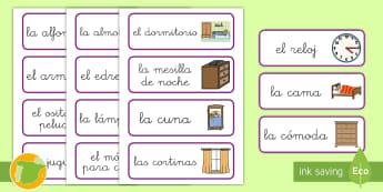 Tarjetas de vocabulario: El dormitorio - casa, casas, hogar, el hogar, en casa, vocabulario, dormitorio, cuarto, dormir, dormitorios, palabra