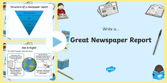 Newspaper Writing Tips PowerPoint - newspaper writing, writing a newspaper article, how to write a newspaper article, newspaper article powerpoint, ks2
