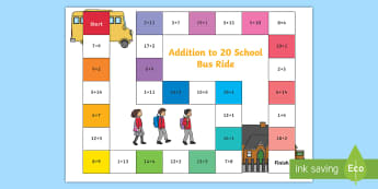 Addition within 20 Bus Board Game - add, adding, games, maths, numeracy