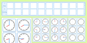 Visual Timetable Display With Clocks - visual timetable display with clocks, timetable, clocks, daily, structure, stage, day, Visual Timetable, education, home school, child development, children activities, free, kids