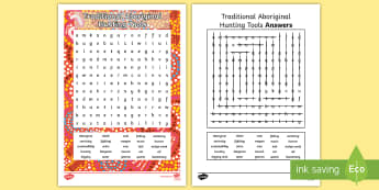 Traditional Aboriginal Hunting Tools Word Search - Indigenous history, Australian History, Aboriginal history, HASS, Sustainability