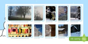 Winter Display Photos English/Hindi - Arctic, winter, photo, Display Photos, display, winter photo, snowflake, skis, ice skates, gloves, h