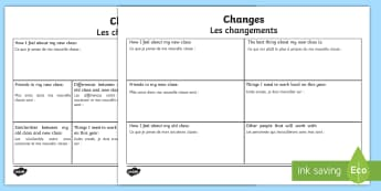 Changes Transition Worksheet / Activity Sheet English/French - Worksheet school transition, growing up, new class, bump up day, EAL French translation