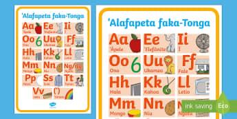 Tongan Alphabet Display Poster - tonga, tongan language week, alphabet, tongan alphabet, letters