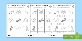 Find and Write the ew Words Differentiated Activity Sheets  - Phonics activity, phase 5, letters and sounds, ew sound, find the sound, sort the pictures, write th