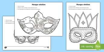 Carnival Venetian Masks Colouring Worksheet / Activity Sheet French - mardi gras, festivities, events, France, costumes, party, festival