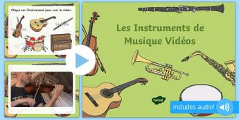 Powerpoint : Les instruments de musique - musique, music, instruments de musique, orchestre, orchestra, violon, guitare, piano, flûte, cor, p