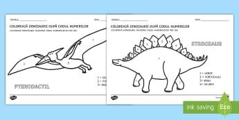 Dinozauri Colorează după codul numerelor - recunoașterea cifrelor, numerație, motricitate fină, arte, matematică,Romanian