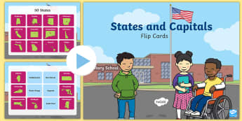 States and Capitals Click and Flip PowerPoint - USA, US, United States, US Capital Cities, 50 States, Fifty States, 50 States and Capitals, geograph