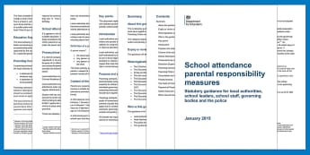School attendance parental responsibility measures - Statutory guidance for local authorities, school leaders, school staff, governing bodies and the police Adult Guidance - attend, attendance in school, guide for attendance, parent responsibilities,