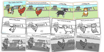 The Little Red Hen Story Cards - the little red hen, little red hen, little red hen story cards, little red hen story sequencing, traditional tale cards