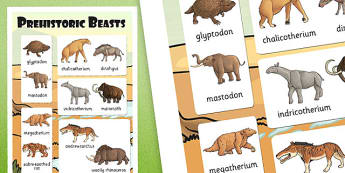 Prehistoric Beasts Vocabulary Poster - vocab, display, history
