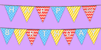 Happy 3rd Birthday Bunting - 3rd birthday party, 3rd birthday, birthday party, bunting