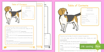 Table of Contents Activity Sheet - Table of Contents, Text Features, ELA, Common core, worksheet