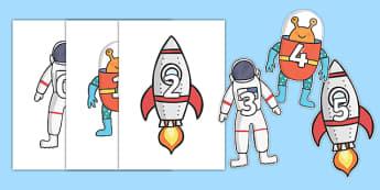 Posters : Les nombres 0 à 100 - L'espace  - numération, mathématique, maths, compter, planète, astronaute