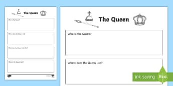 Who Is The Queen? Activity Sheet - Australia, Worksheet, English, The Queen's Birthday, monarch, reign, Australia