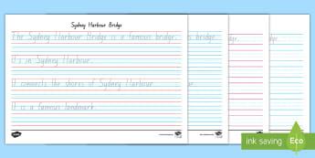 Sydney Harbour Bridge Year 1 Handwriting Practice Activity Sheet - Fine motor, letter formation, writing, cursive, australian landmark,Australia