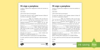 San Fermin Festivities Preterite Tense Gap Fill Activity Sheet Spanish - worksheet reading, writing, grammar, preterite, gap, fill, worksheet, accents, pamplona, navarra, sp