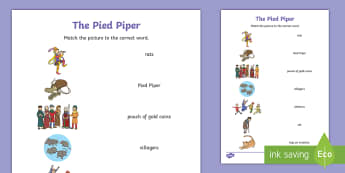 The Pied Piper Word and Picture Match - word, picture match
