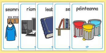 Trealamh seomra ranga Display Posters Gaeilge - roi, irish, gaeilge, classroom objects, display poster, display, poster