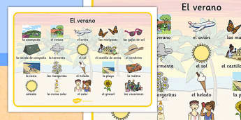Summer Word Mat Images Spanish - spanish, Summer, holidays, word mat, writing aid, holiday, holidays, seasons, beach, sun, flowers, ice cream, sea, seaside