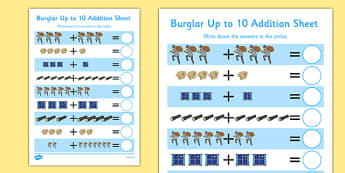 Burglar Up to 10 Addition Sheet - burglar bill, burglar, 10, addition sheet