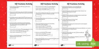 Elf Fraction Problems Differentiated Activity Sheets - LKS2, maths, elf, Christmas, fractions, problem solving, lower key stage 2, year 3, year 4.