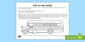 Who Are My Family? Activity Sheet - relationships, families, young people, PSHCE, PSHE, Emotions, Discussion, worksheet